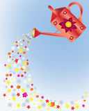 Floral watering can Stock Photo