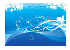 Floral  and wave designs. In blue  background Royalty Free Stock Images