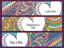 Floral web header or banner set for Valentine's Day. Stock Photography