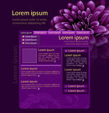 Purple flower web page design template Stock Images