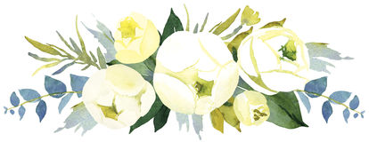 Floral wedding bouquet with roses. Watercolor illustration Royalty Free Stock Photos