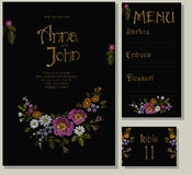 Floral wedding cards design suite template. Rustic field flower wild rose daisy gerbera herbs. Invitation greeting card marriage m. Enu table. Embroidery on Royalty Free Stock Photos
