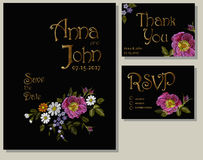 Floral wedding cards design suite template. Rustic field flower wild rose daisy gerbera herbs. Save the date greeting card RSVP th. Ank you. Embroidery on black Royalty Free Stock Photos