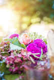 Floral wedding centerpiece details Stock Photo