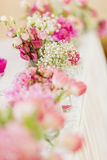 Floral wedding decoration on table Royalty Free Stock Image