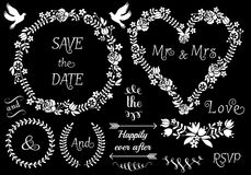 Floral wedding frames, vector set. White floral wedding frames and laurel wreath, vector set on blackboard Stock Images