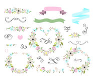 Floral wedding graphic set with wreaths Stock Images