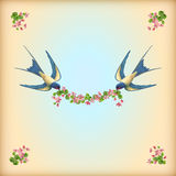 Floral wedding invitation card with flowers birds. Floral wedding invitation card with flowers, birds. Flying swallows with cherry flower garland, decorative Stock Photos