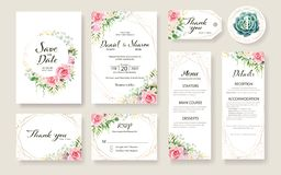 Floral Wedding Invitation card, save the date, thank you, rsvp, table label, tage template. Vector. Rose flower, Succulent,