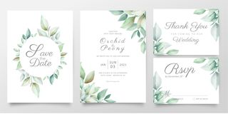 Free Floral Wedding Invitation Card Template Set Of Realistic Watercolor Leaves. Elegant Greenery Save The Date, Invite, Thank You, Stock Images - 156801594