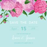 Floral Wedding Invitation or Congratulation Card. Save the Date Blooming Peony Flowers Card. Spring Botanical Design. For Ceremony Decoration. Vector Royalty Free Stock Photo