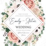 Floral Wedding Invitation elegant invite card vector design. Garden flower pink, lavender Rose, white wax dusty blush Anemone,. Silver green Eucalyptus leaves stock illustration