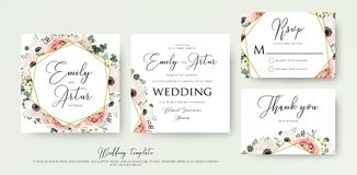 Floral Wedding Invitation elegant invite, thank you, rsvp card v. Ector Design: garden flower pink, peach Rose, white wax Anemone, green Eucalyptus tender Stock Image