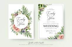 Floral Wedding Invitation elegant invite, thank you, rsvp card v. Ector Design: garden pink, peach Rose flower, white wax, succulent, cactus plant, green Royalty Free Stock Photo