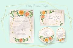 Floral Wedding Invitation, thank you, rsvp, Save the Date, Bridal Shower, marriage day, cards template set, watercolor