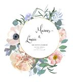 Floral Wedding Invitation. Elegant pink garden rose, peony, anemone, eucalyptus branches, leaves. Vector template stock illustration