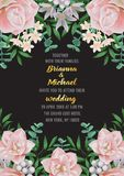 Wedding invitation with Flowers and Greenery vector illustration
