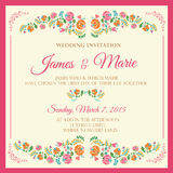 Floral Wedding Invitation. Floral pink wedding Invitation template Royalty Free Stock Image