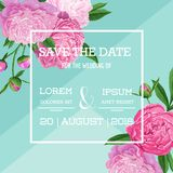 Floral Wedding Invitation. Save the Date Blooming Peony Flowers Card. Spring Botanical Design for Ceremony Decoration. Vector illustration Royalty Free Stock Photography