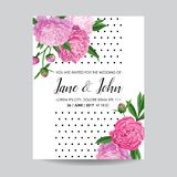 Floral Wedding Invitation. Save the Date Card with Blooming Peony Flowers. Spring Botanical Design. For Ceremony Decoration. Vector illustration Stock Photos
