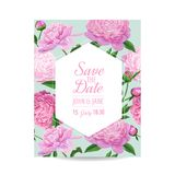 Floral Wedding Invitation. Save the Date Card with Blooming Peony Flowers. Spring Botanical Design for Party Decoration. Vector illustration Royalty Free Stock Photos