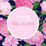 Floral Wedding Invitation. Save the Date Card with Blooming Peony Flowers. Vintage Spring Botanical Design. For Party Decoration. Vector illustration Royalty Free Stock Photos