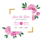 Floral Wedding Invitation. Save the Date Card with Blooming Pink Peony Flowers and Frame. Romantic Botanical Design. Floral Wedding Invitation. Save the Date Royalty Free Stock Photos