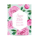 Floral Wedding Invitation. Save the Date Card with Blooming Pink Peony Flowers. Vintage Spring Botanical Design. For Party Decoration. Vector illustration Royalty Free Stock Photos