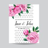 Floral Wedding Invitation. Save the Date Card with Blooming Pink Peony Flowers. Vintage Spring Botanical Design. For Party Decoration. Vector illustration Stock Photos