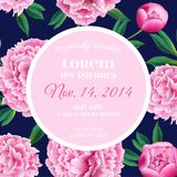 Floral Wedding Invitation. Save the Date Card with Blooming Pink Peony Flowers. Vintage Spring Botanical Design. For Party Decoration. Vector illustration Stock Photo