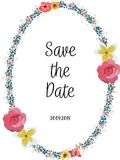 Floral Wedding Invitation save the date card elegant invite card vector Design: garden flower white Rose.  Royalty Free Stock Photography