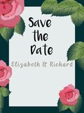 Floral Wedding Invitation save the date card elegant invite card vector Design: garden flower white Rose peony white wax green blu. E Eucalyptus tender greenery Royalty Free Stock Images