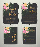 Floral wedding invitation save the date card with rsvp set Stock Photos
