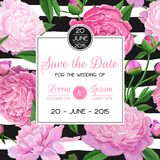 Floral Wedding Invitation Template. Save the Date Card with Blooming Peony Flowers. Spring Botanical Design for Ceremony. Decoration. Vector illustration Stock Images