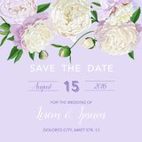 Floral Wedding Invitation Template. Save the Date Card with Blooming White Peonies. Vintage Spring Botanical Design. For Party Decoration. Vector illustration Stock Photos