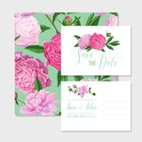 Floral Wedding Invitation Template Set. Save the Date Card with Blooming Peony Flowers. Spring Botanical Design. For Ceremony Decoration. Vector illustration Stock Photography