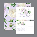 Floral Wedding Invitation Template Set. Save the Date Card with Blooming White Peonies Flowers. Vintage Spring Botanical. Design for Party Decoration. Vector Stock Image