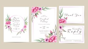 Floral Wedding Invitation Template Set of Watercolor Flowers stock illustration