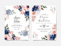 Free Floral Wedding Invitation Template Set With Blue And Brown Roses Flowers And Leaves Decoration. Botanic Card Design Concept Royalty Free Stock Image - 200476386