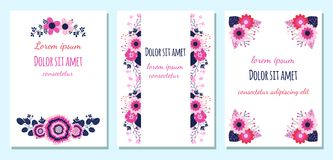Floral wedding invitations or greeting cards. With nlue, pink and violet flowers royalty free illustration