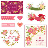 Floral Wedding Set Stock Photography