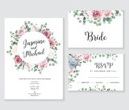 Floral wedding vector frames. Hand painted pale pink roses, eucalyptus branches. Leaves, succulents on white background. Greenery invitation. Watercolor style stock illustration