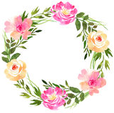 Floral wedding wreath with roses. Stock Photo