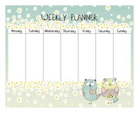 Floral weekly planner. Hand drawing vector weekly planner with owls Royalty Free Stock Image