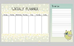 Floral weekly planner. Hand drawing vector weekly planner with owls Royalty Free Stock Photography