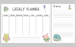 Floral weekly planner. Hand drawing vector weekly planner with owls Stock Photo