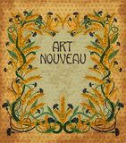 Floral wheaten card in art nouveau style Royalty Free Stock Images