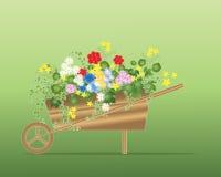 Floral wheelbarrow Stock Photo