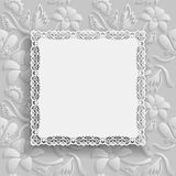 Floral white  background  and  beautiful frame with an lace border on the edge on white backdrop for greeting card, can be used as Stock Image