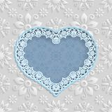 Floral white  background  and  frame in the shape of a heart with an lace border on the edge  for greeting card, can be used as a Stock Image